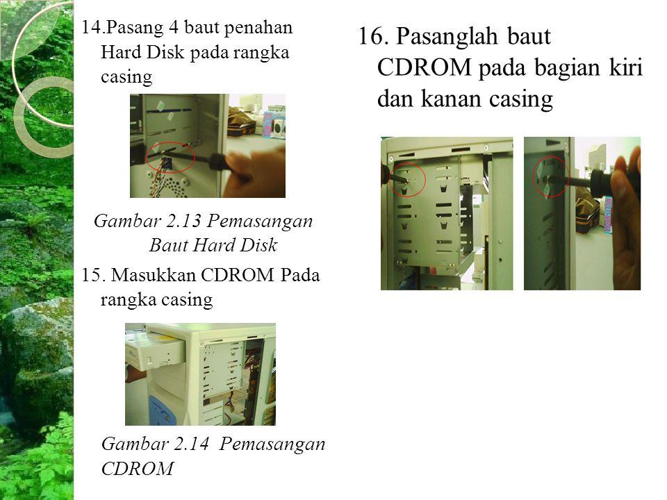 14.Pasang 4 baut penahan Hard Disk pada rangka casing Gambar 2.13 Pemasangan Baut Hard Disk 15. Masukkan CDROM Pada rangka casing Gambar 2.14 Pemasang
