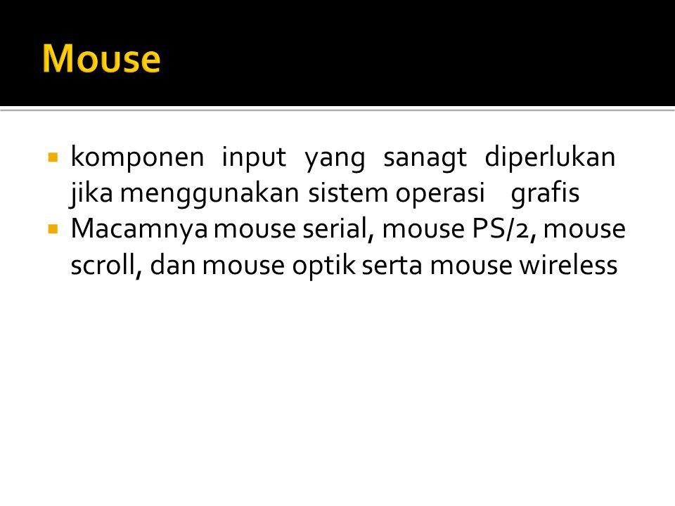  komponen input yang sanagt diperlukan jika menggunakansistem operasigrafis  Macamnya mouse serial, mouse PS/2, mouse scroll, dan mouse optik serta