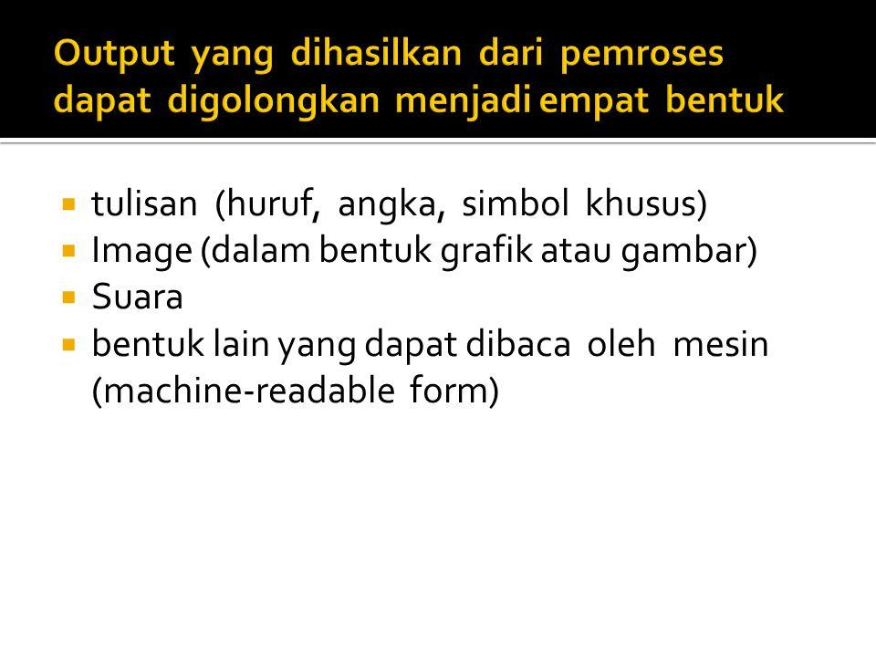  tulisan (huruf, angka, simbol khusus)  Image (dalam bentuk grafik atau gambar)  Suara  bentuk lain yang dapat dibaca oleh mesin (machine-readable