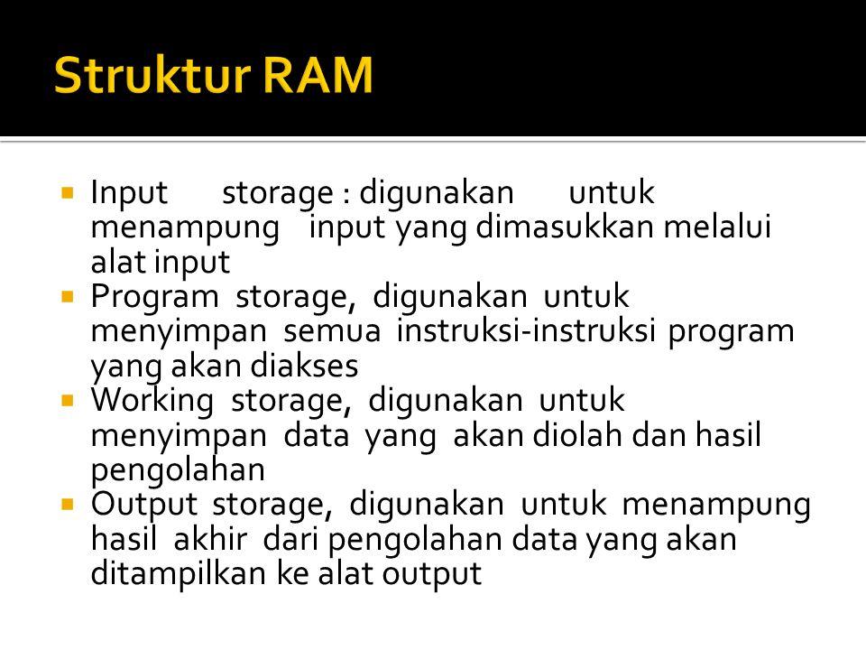  Inputstorage : digunakanuntuk menampunginputyang dimasukkan melalui alat input  Program storage, digunakan untuk menyimpan semua instruksi-instruks