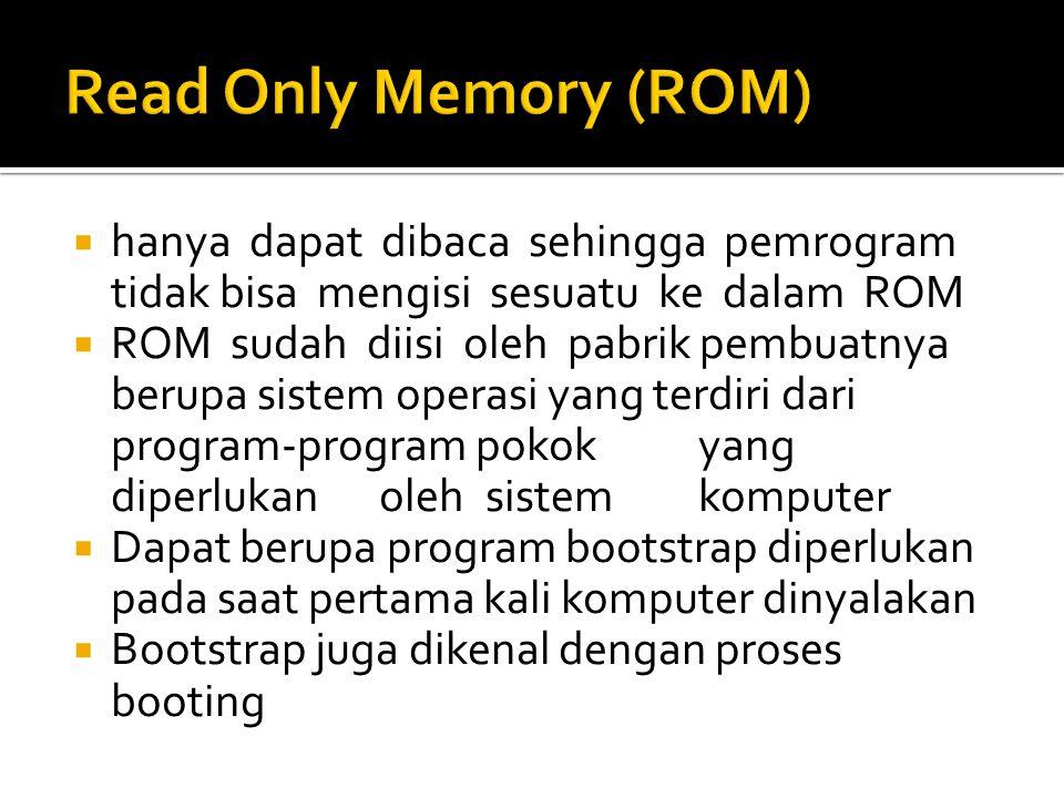 hanya dapat dibaca sehingga pemrogram tidak bisa mengisi sesuatu ke dalam ROM  ROM sudah diisi oleh pabrik pembuatnya berupa sistem operasi yang te