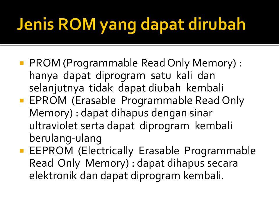  PROM (Programmable Read Only Memory) : hanya dapat diprogram satu kali dan selanjutnya tidak dapat diubah kembali  EPROM (Erasable Programmable Rea