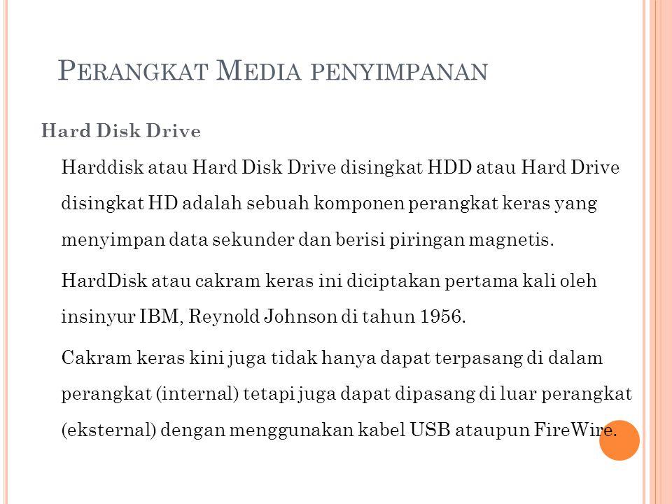P ERANGKAT M EDIA PENYIMPANAN Hard Disk Drive Harddisk atau Hard Disk Drive disingkat HDD atau Hard Drive disingkat HD adalah sebuah komponen perangka