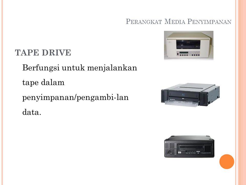 P ERANGKAT M EDIA P ENYIMPANAN TAPE DRIVE Berfungsi untuk menjalankan tape dalam penyimpanan/pengambi-lan data.