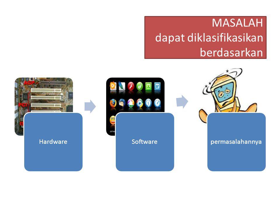Untuk mengidentifikasi penyebab kerusakan (terjadinya masalah) dapat dilakukan dengan cara MELOKALISIR PERMASALAHAN sehingga ruang lingkup kemungkinan kerusakan menjadi lebih sempit baik secara hardware maupun software.