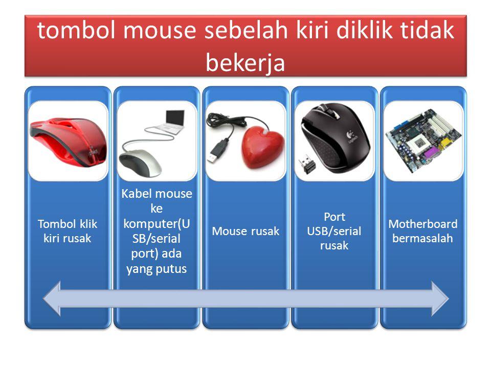 tombol mouse sebelah kiri diklik tidak bekerja Tombol klik kiri rusak Kabel mouse ke komputer(U SB/serial port) ada yang putus Mouse rusak Port USB/serial rusak Motherboard bermasalah