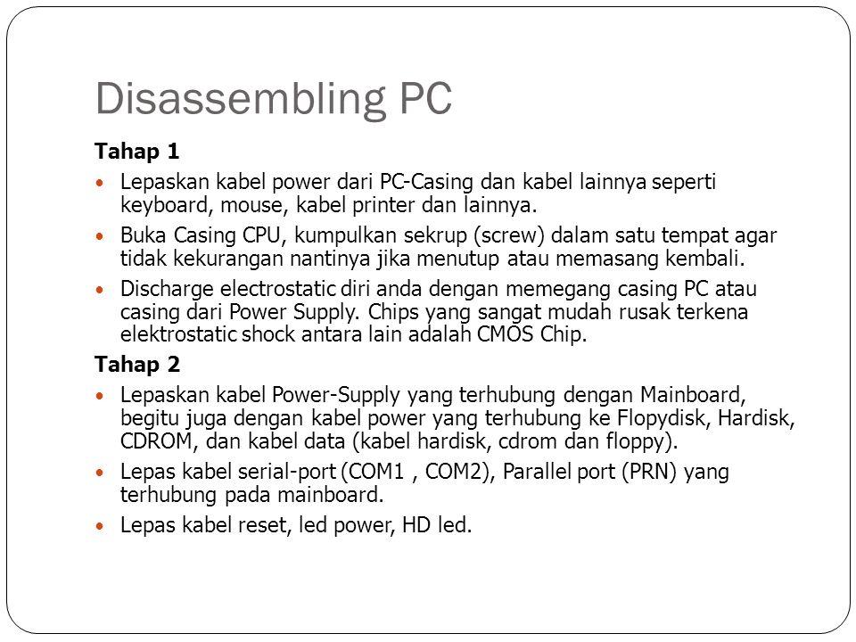 Disassembling PC Tahap 3 Lepas semua adapter (video, Ethernet, sound card dan lainnya) dengan melepas sekrup penyangga pada casing.