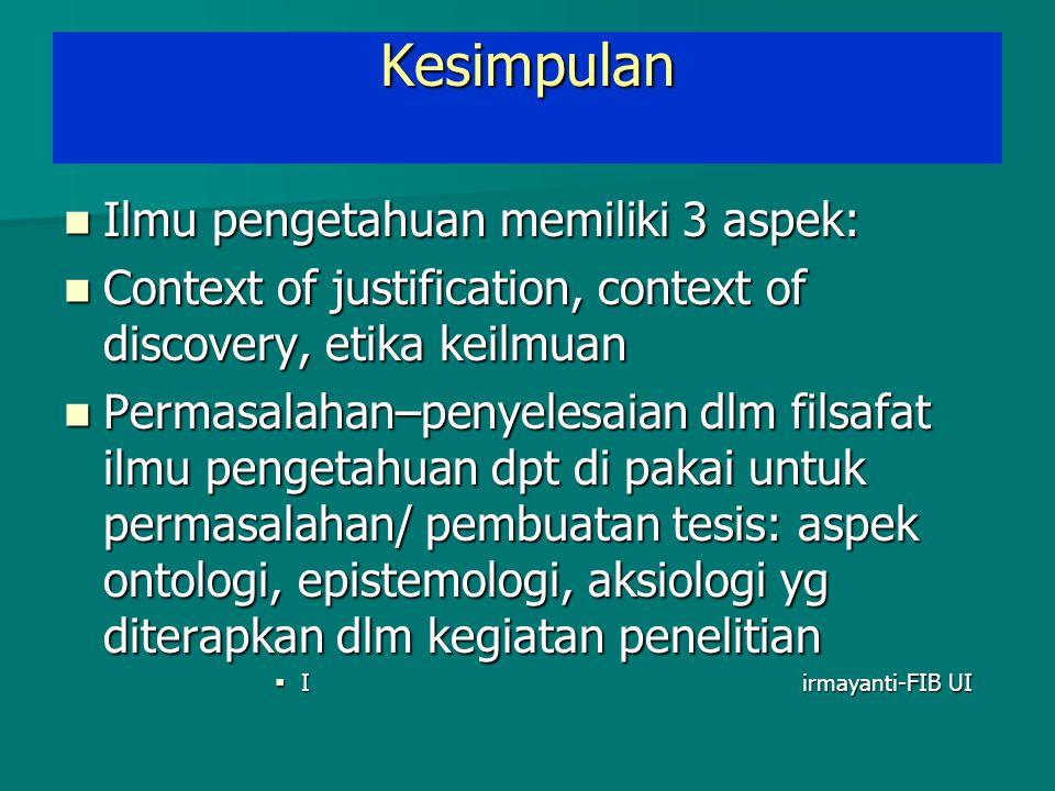 Kesimpulan Ilmu pengetahuan memiliki 3 aspek: Ilmu pengetahuan memiliki 3 aspek: Context of justification, context of discovery, etika keilmuan Contex