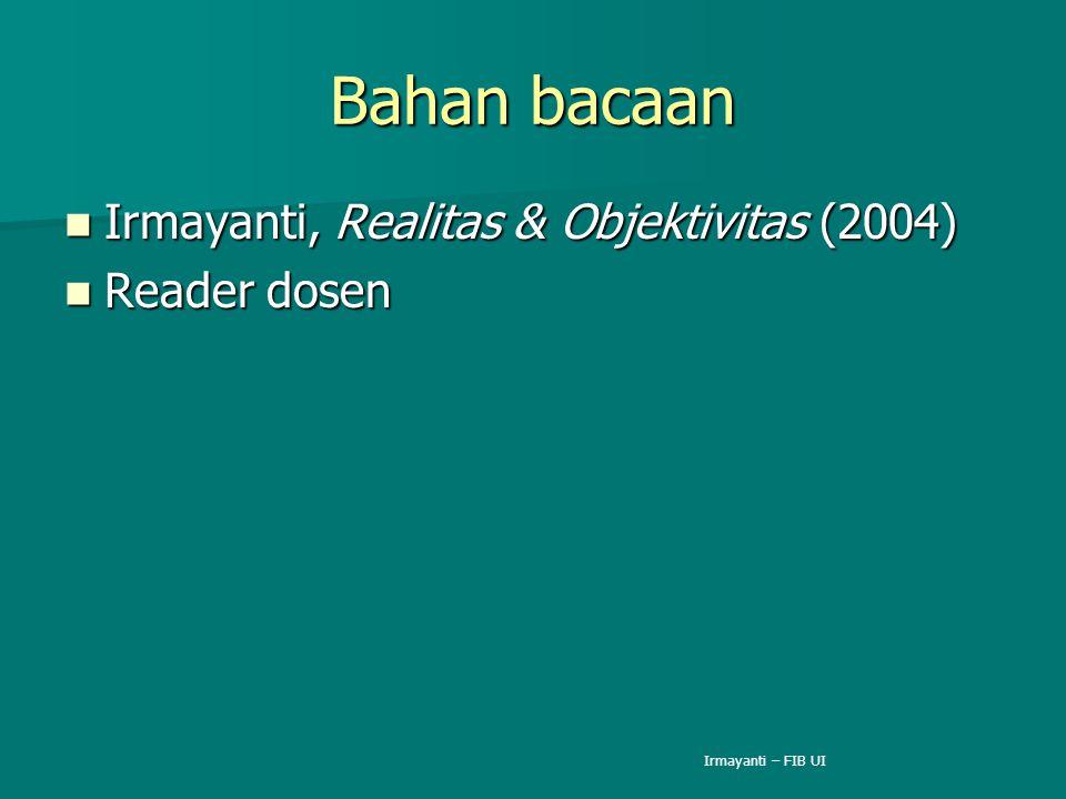 Bahan bacaan Irmayanti, Realitas & Objektivitas (2004) Irmayanti, Realitas & Objektivitas (2004) Reader dosen Reader dosen Irmayanti – FIB UI
