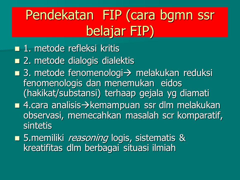 Pendekatan FIP (cara bgmn ssr belajar FIP) 1. metode refleksi kritis 1. metode refleksi kritis 2. metode dialogis dialektis 2. metode dialogis dialekt