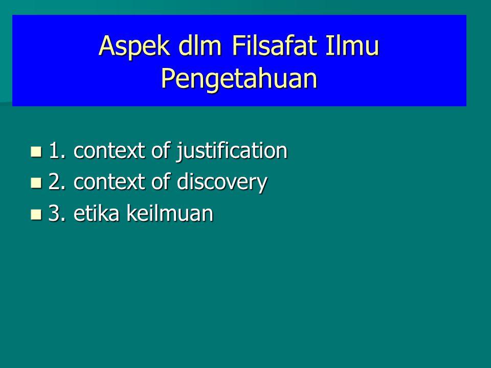 Aspek dlm Filsafat Ilmu Pengetahuan 1. context of justification 1. context of justification 2. context of discovery 2. context of discovery 3. etika k