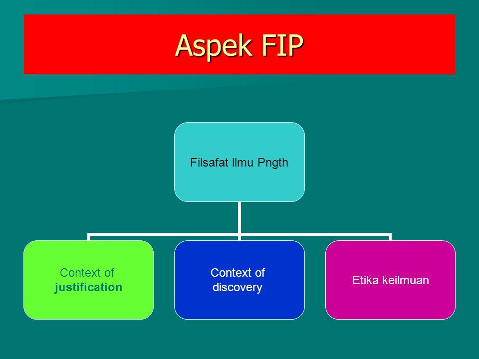 Aspek FIP Filsafat llmu Pngth Context of justification Context of discovery Etika keilmuan