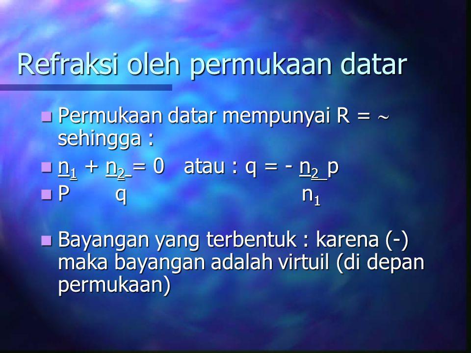 Refraksi oleh permukaan datar Permukaan datar mempunyai R =  sehingga : Permukaan datar mempunyai R =  sehingga : n 1 + n 2 = 0 atau : q = - n 2 p n 1 + n 2 = 0 atau : q = - n 2 p P q n 1 P q n 1 Bayangan yang terbentuk : karena (-) maka bayangan adalah virtuil (di depan permukaan) Bayangan yang terbentuk : karena (-) maka bayangan adalah virtuil (di depan permukaan)