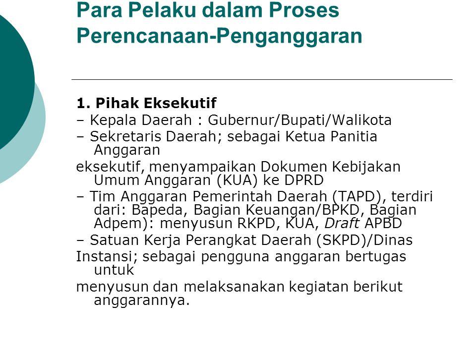 Para Pelaku dalam Proses Perencanaan-Penganggaran 1. Pihak Eksekutif – Kepala Daerah : Gubernur/Bupati/Walikota – Sekretaris Daerah; sebagai Ketua Pan