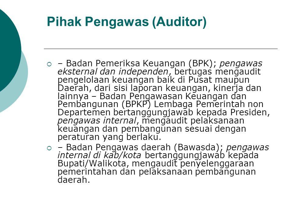 Pihak Pengawas (Auditor)  – Badan Pemeriksa Keuangan (BPK); pengawas eksternal dan independen, bertugas mengaudit pengelolaan keuangan baik di Pusat
