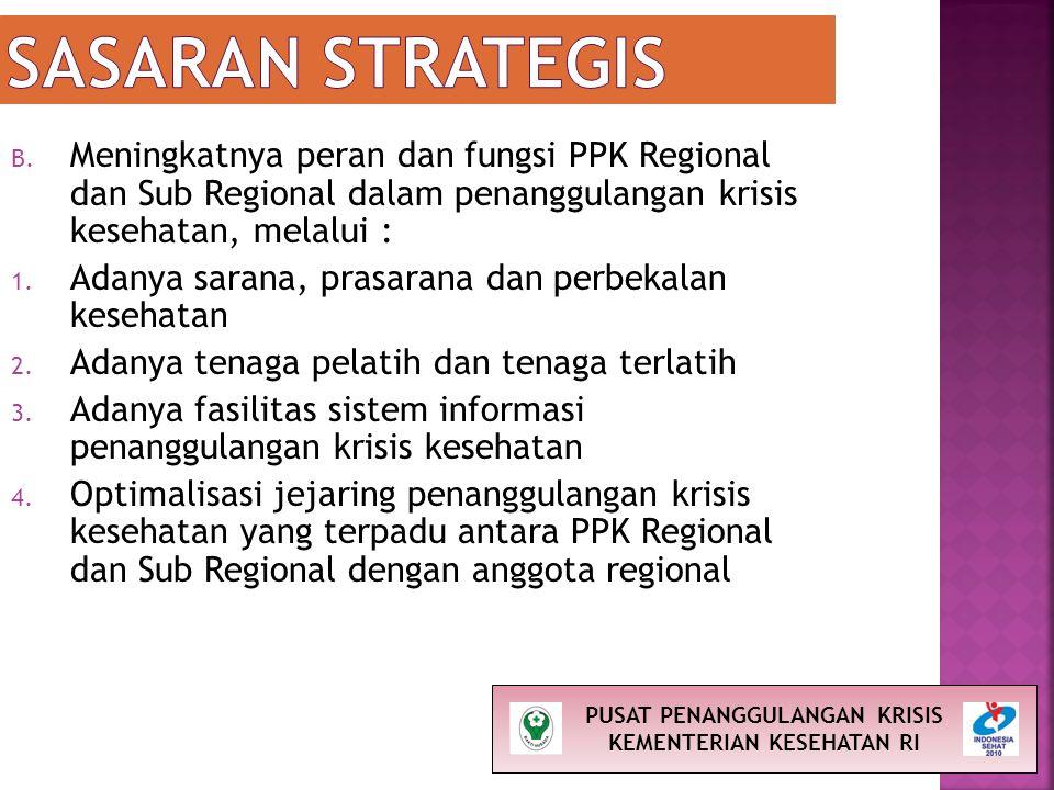 B. Meningkatnya peran dan fungsi PPK Regional dan Sub Regional dalam penanggulangan krisis kesehatan, melalui : 1. Adanya sarana, prasarana dan perbek