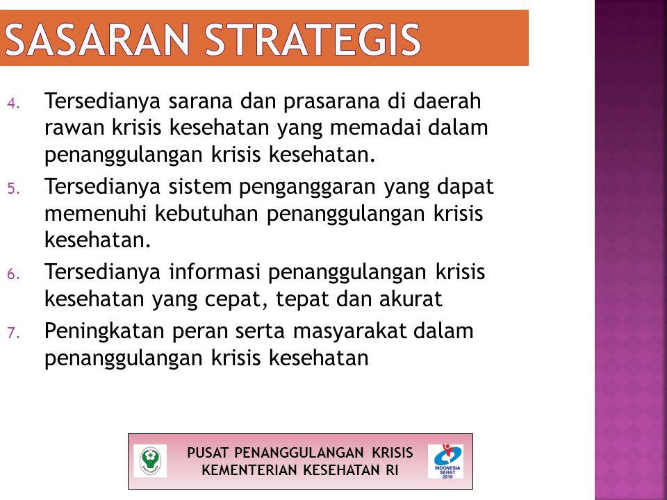 4. Tersedianya sarana dan prasarana di daerah rawan krisis kesehatan yang memadai dalam penanggulangan krisis kesehatan. 5. Tersedianya sistem pengang