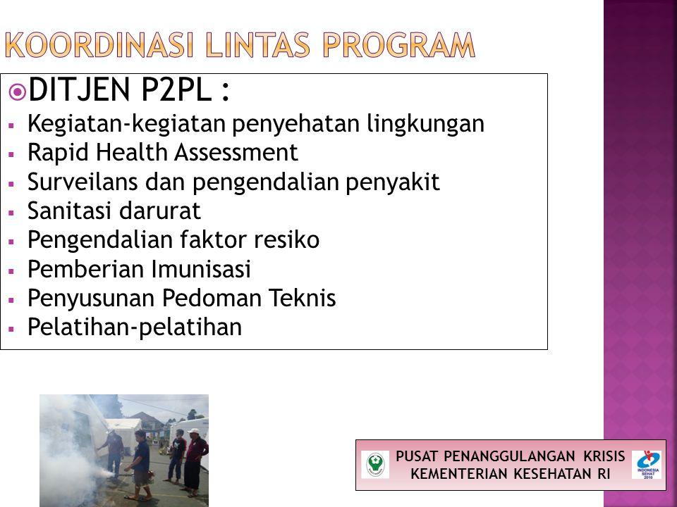  DITJEN P2PL :  Kegiatan-kegiatan penyehatan lingkungan  Rapid Health Assessment  Surveilans dan pengendalian penyakit  Sanitasi darurat  Pengen