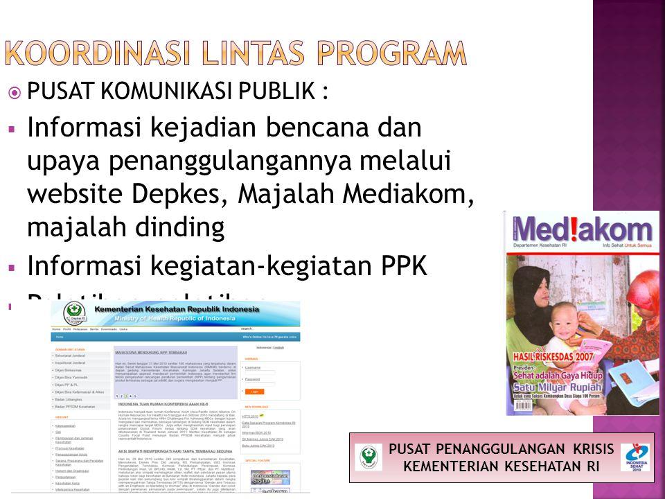  PUSAT KOMUNIKASI PUBLIK :  Informasi kejadian bencana dan upaya penanggulangannya melalui website Depkes, Majalah Mediakom, majalah dinding  Infor