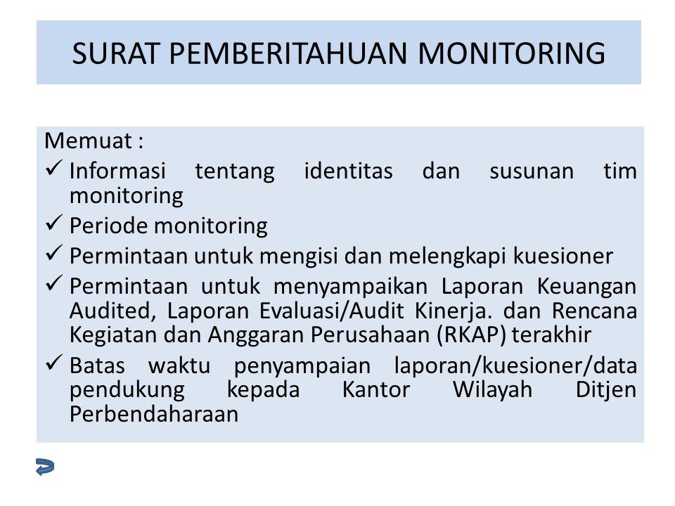 Memuat : Informasi tentang identitas dan susunan tim monitoring Periode monitoring Permintaan untuk mengisi dan melengkapi kuesioner Permintaan untuk