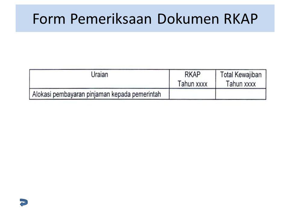 Form Pemeriksaan Dokumen RKAP