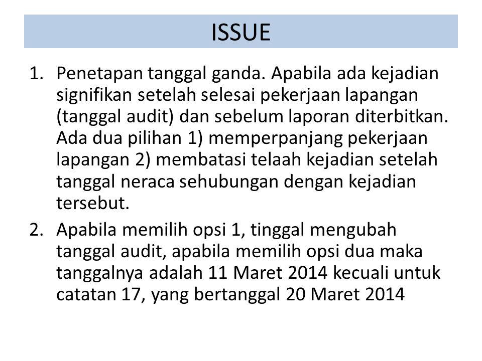 ISSUE 1.Penetapan tanggal ganda. Apabila ada kejadian signifikan setelah selesai pekerjaan lapangan (tanggal audit) dan sebelum laporan diterbitkan. A