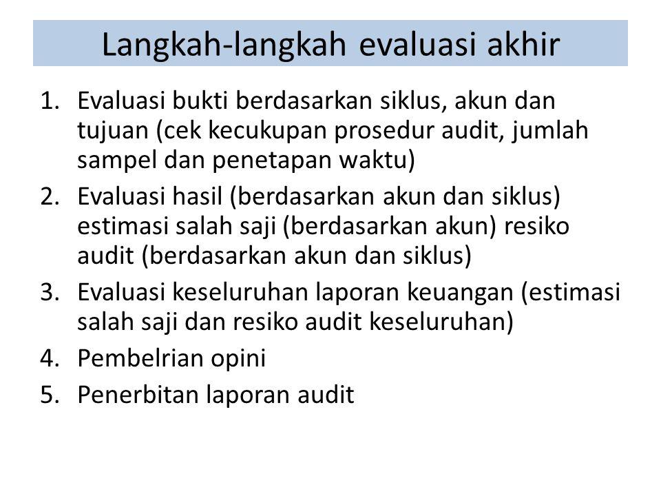 Langkah-langkah evaluasi akhir 1.Evaluasi bukti berdasarkan siklus, akun dan tujuan (cek kecukupan prosedur audit, jumlah sampel dan penetapan waktu) 2.Evaluasi hasil (berdasarkan akun dan siklus) estimasi salah saji (berdasarkan akun) resiko audit (berdasarkan akun dan siklus) 3.Evaluasi keseluruhan laporan keuangan (estimasi salah saji dan resiko audit keseluruhan) 4.Pembelrian opini 5.Penerbitan laporan audit