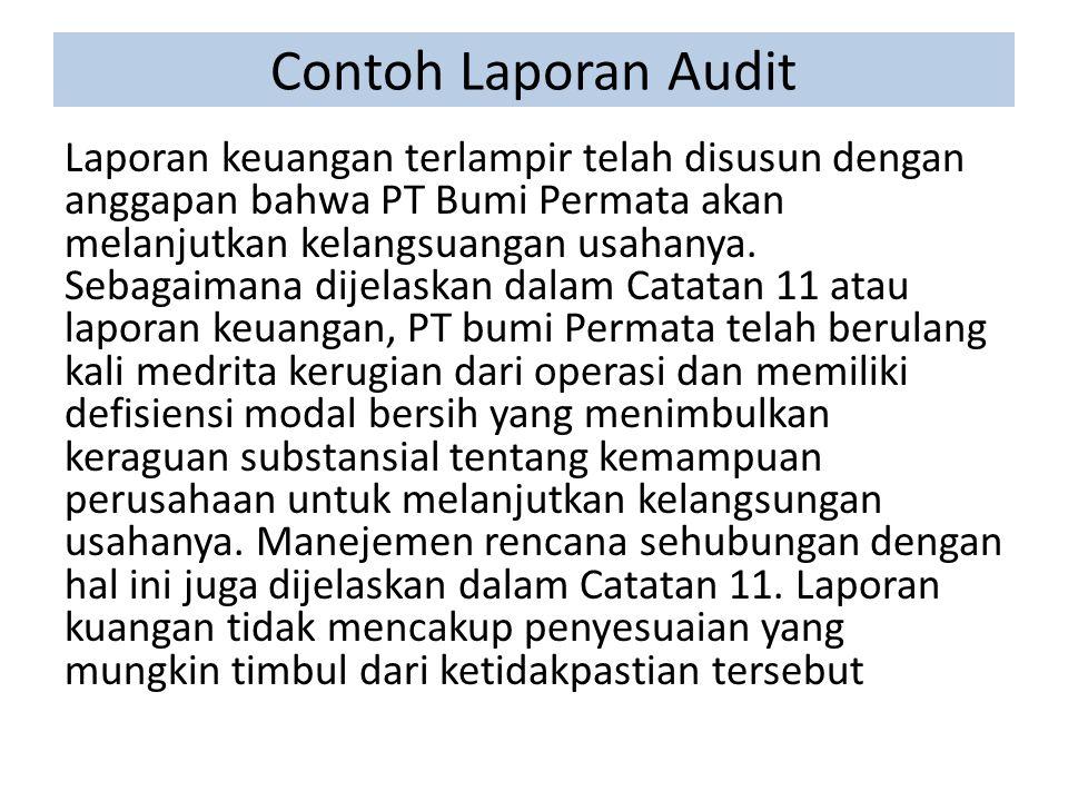 Contoh Laporan Audit Laporan keuangan terlampir telah disusun dengan anggapan bahwa PT Bumi Permata akan melanjutkan kelangsuangan usahanya.