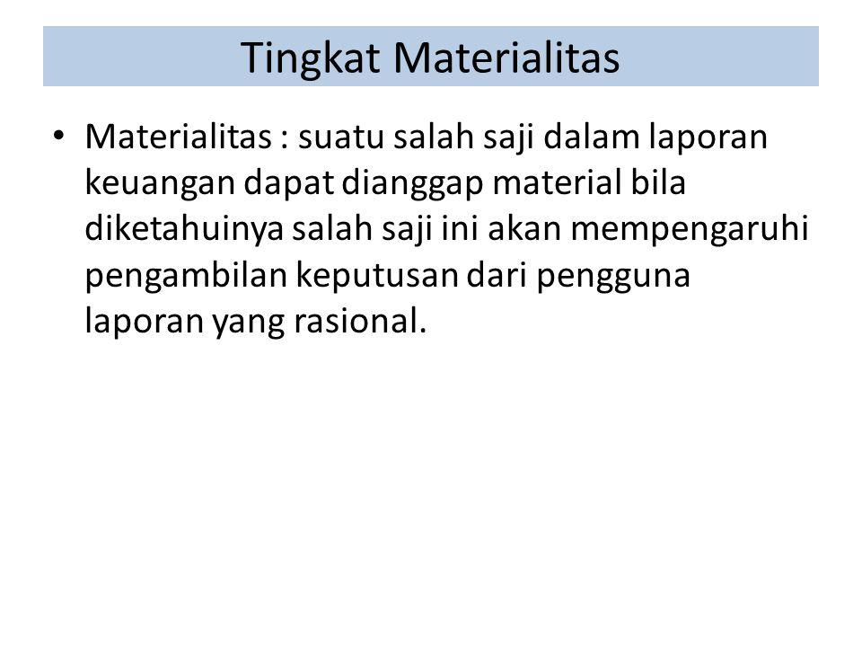 Tingkat Materialitas Materialitas : suatu salah saji dalam laporan keuangan dapat dianggap material bila diketahuinya salah saji ini akan mempengaruhi pengambilan keputusan dari pengguna laporan yang rasional.