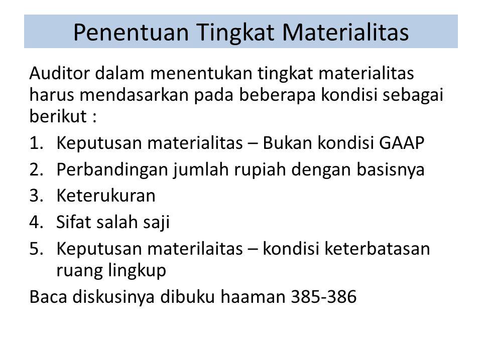 Penentuan Tingkat Materialitas Auditor dalam menentukan tingkat materialitas harus mendasarkan pada beberapa kondisi sebagai berikut : 1.Keputusan materialitas – Bukan kondisi GAAP 2.Perbandingan jumlah rupiah dengan basisnya 3.Keterukuran 4.Sifat salah saji 5.Keputusan materilaitas – kondisi keterbatasan ruang lingkup Baca diskusinya dibuku haaman 385-386