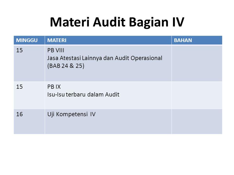 Materi Audit Bagian IV MINGGUMATERIBAHAN 15PB VIII Jasa Atestasi Lainnya dan Audit Operasional (BAB 24 & 25) 15PB IX Isu-Isu terbaru dalam Audit 16Uji