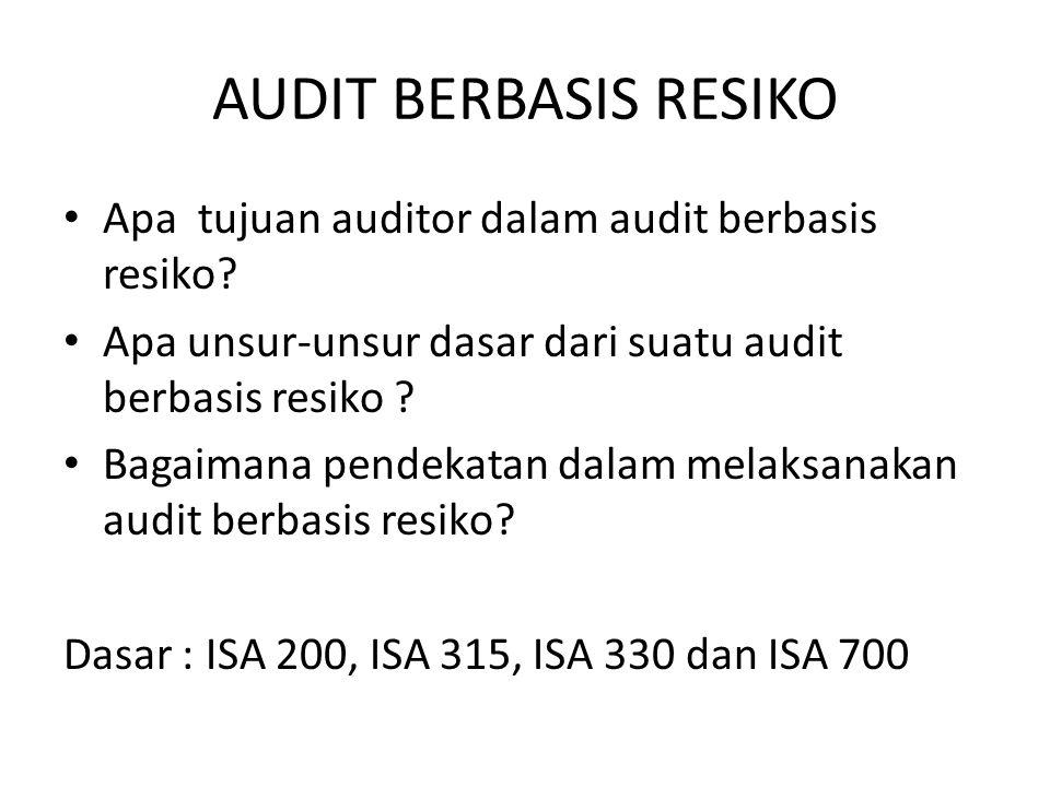 AUDIT BERBASIS RESIKO Apa tujuan auditor dalam audit berbasis resiko? Apa unsur-unsur dasar dari suatu audit berbasis resiko ? Bagaimana pendekatan da