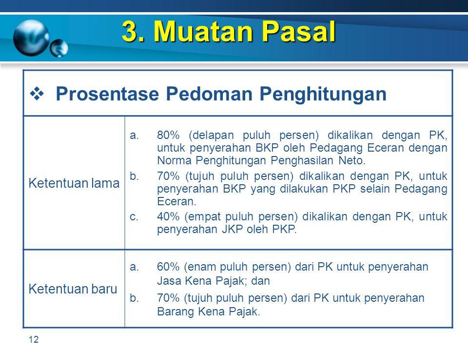 3. Muatan Pasal 12  Prosentase Pedoman Penghitungan Ketentuan lama a.80% (delapan puluh persen) dikalikan dengan PK, untuk penyerahan BKP oleh Pedaga