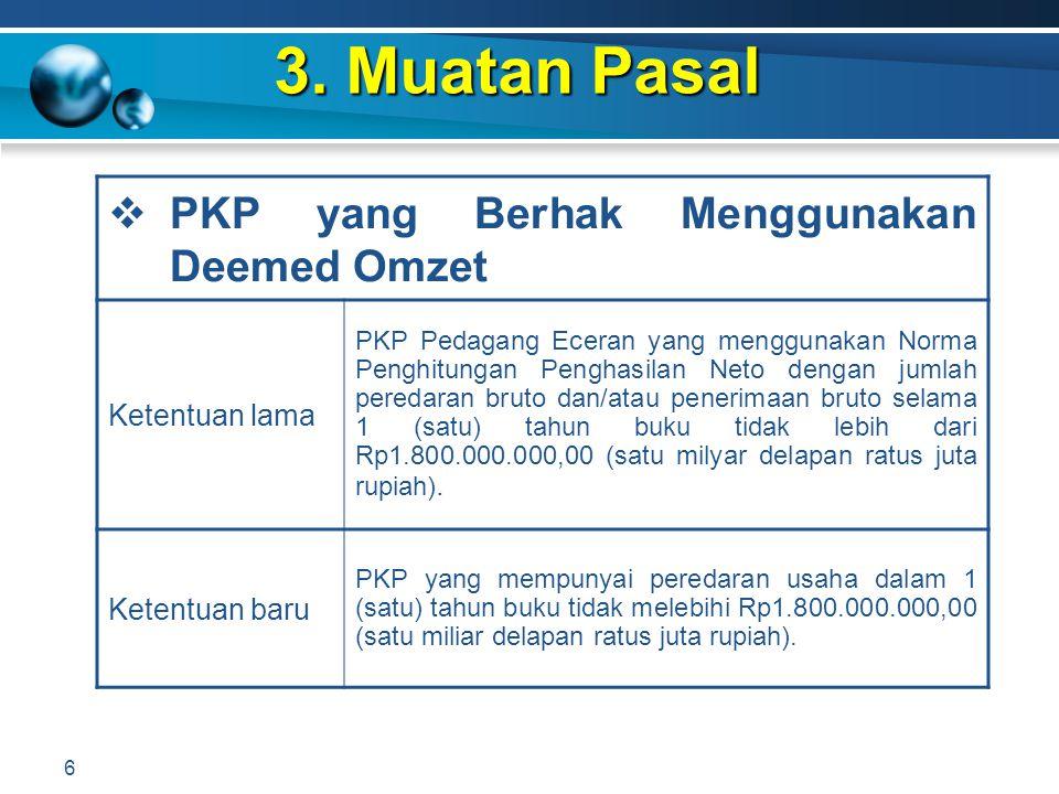 3. Muatan Pasal 6  PKP yang Berhak Menggunakan Deemed Omzet Ketentuan lama PKP Pedagang Eceran yang menggunakan Norma Penghitungan Penghasilan Neto d