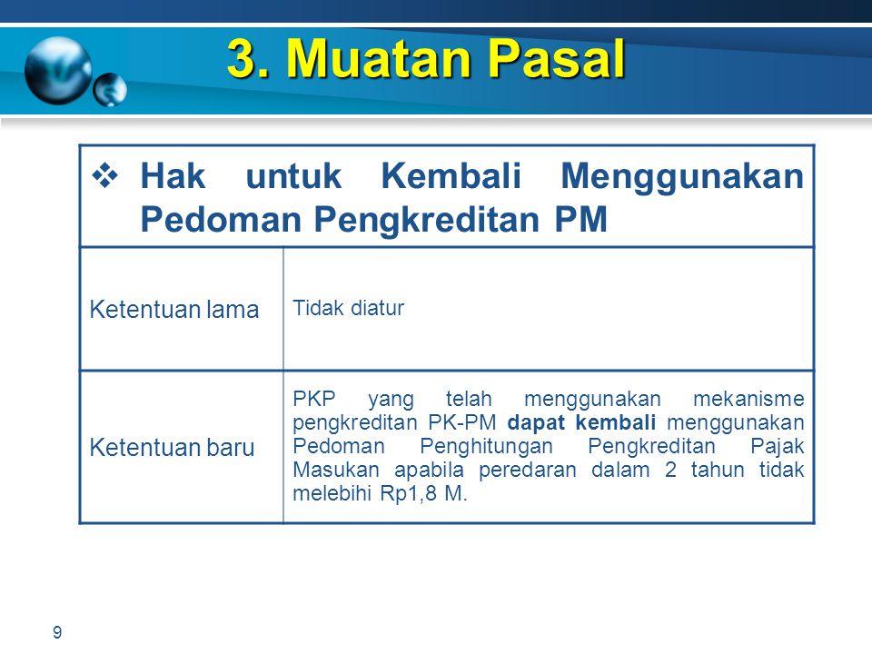 3. Muatan Pasal 9  Hak untuk Kembali Menggunakan Pedoman Pengkreditan PM Ketentuan lama Tidak diatur Ketentuan baru PKP yang telah menggunakan mekani
