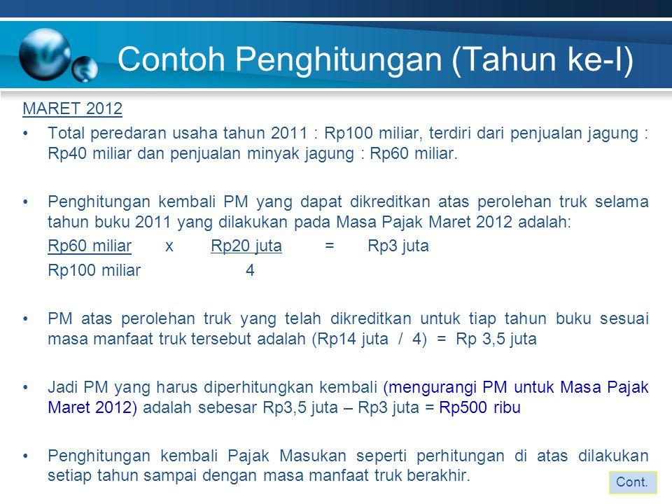 Contoh Penghitungan (Tahun ke-I) MARET 2012 Total peredaran usaha tahun 2011 : Rp100 miliar, terdiri dari penjualan jagung : Rp40 miliar dan penjualan