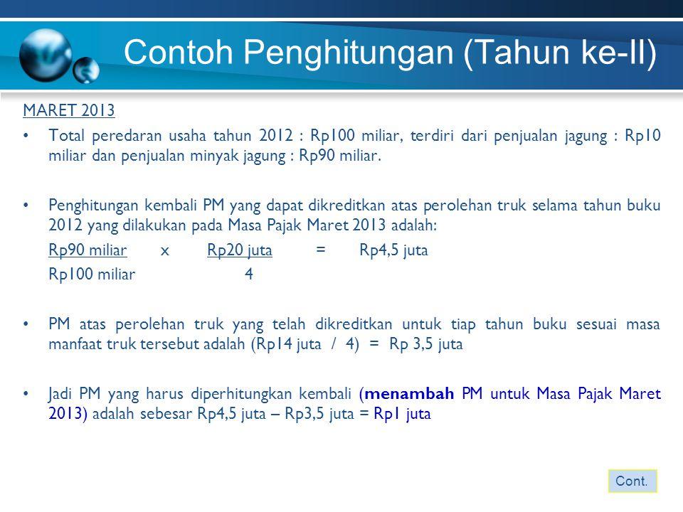 Contoh Penghitungan (Tahun ke-II) MARET 2013 Total peredaran usaha tahun 2012 : Rp100 miliar, terdiri dari penjualan jagung : Rp10 miliar dan penjuala
