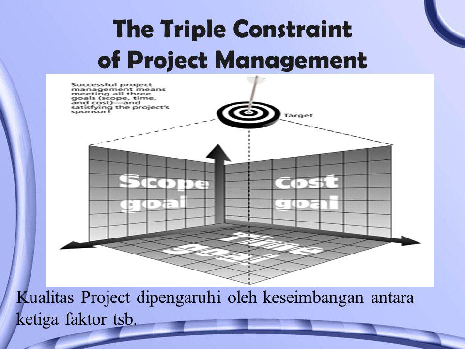 The Triple Constraint of Project Management Kualitas Project dipengaruhi oleh keseimbangan antara ketiga faktor tsb.