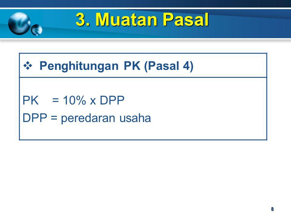 3. Muatan Pasal 8  Penghitungan PK (Pasal 4) PK = 10% x DPP DPP = peredaran usaha