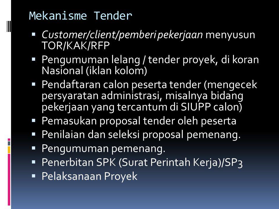 Mekanisme Tender  Customer/client/pemberi pekerjaan menyusun TOR/KAK/RFP  Pengumuman lelang / tender proyek, di koran Nasional (iklan kolom)  Penda