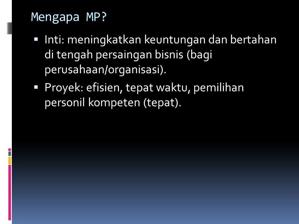 Mengapa MP?  Inti: meningkatkan keuntungan dan bertahan di tengah persaingan bisnis (bagi perusahaan/organisasi).  Proyek: efisien, tepat waktu, pem