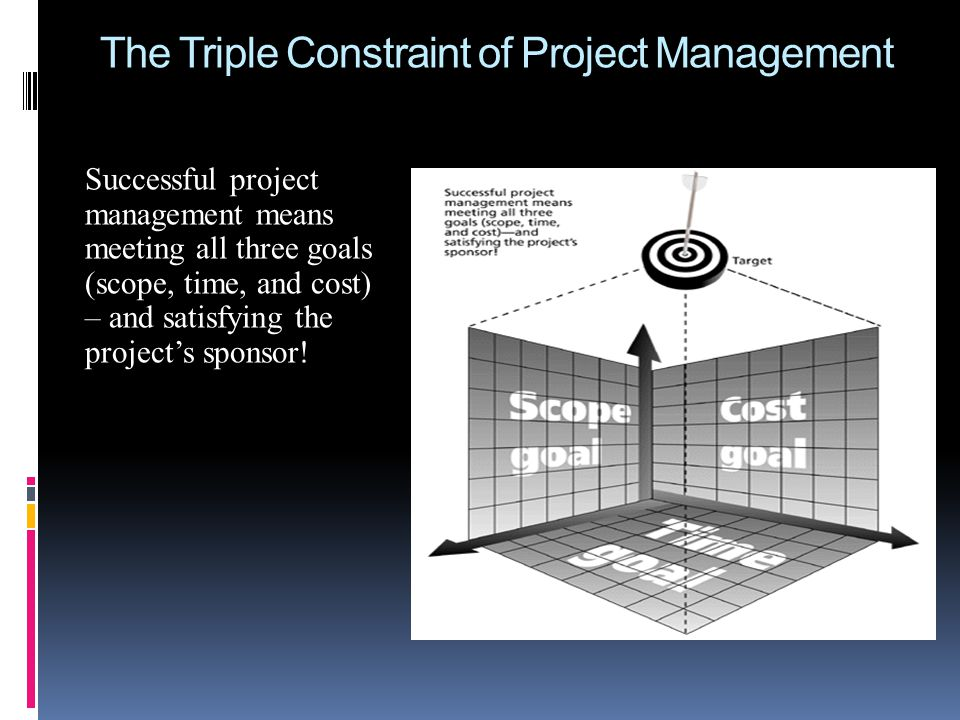 The Triple Constraint of Project Management Successful project management means meeting all three goals (scope, time, and cost) – and satisfying the p