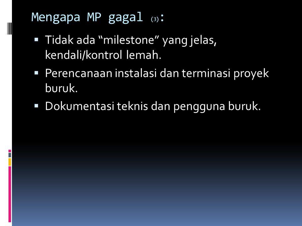"""Mengapa MP gagal (3) :  Tidak ada """"milestone"""" yang jelas, kendali/kontrol lemah.  Perencanaan instalasi dan terminasi proyek buruk.  Dokumentasi te"""