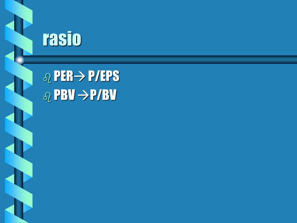rasio b PER  P/EPS b PBV  P/BV