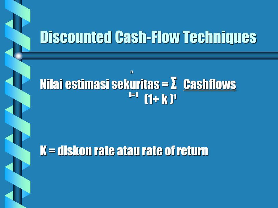 Discounted Cash-Flow Techniques ⁿ ⁿ Nilai estimasi sekuritas = Σ Cashflows t=1 t=1 (1+ k )¹ (1+ k )¹ K = diskon rate atau rate of return