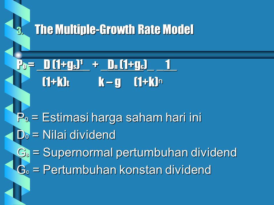 3. The Multiple-Growth Rate Model P 0 = _D (1+g s )¹_ + _D n (1+g c )_ _ 1_ (1+k) t k – g (1+k) ⁿ (1+k) t k – g (1+k) ⁿ P 0 = Estimasi harga saham har
