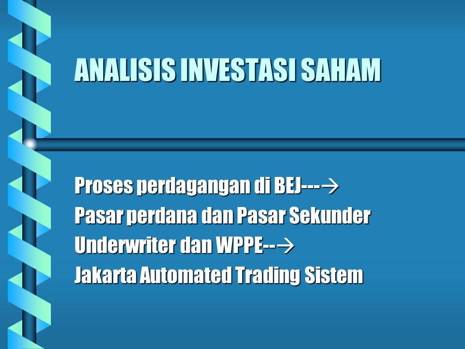 ANALISIS INVESTASI SAHAM Proses perdagangan di BEJ---  Pasar perdana dan Pasar Sekunder Underwriter dan WPPE--  Jakarta Automated Trading Sistem