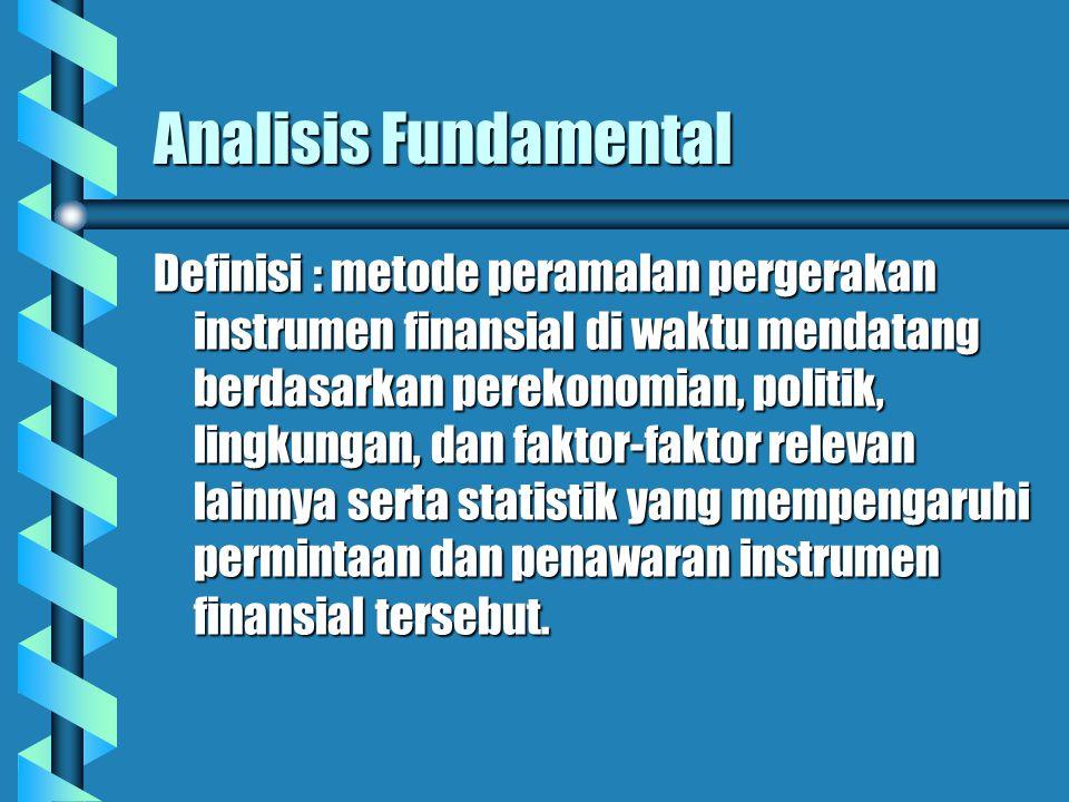 Analisis Fundamental Definisi : metode peramalan pergerakan instrumen finansial di waktu mendatang berdasarkan perekonomian, politik, lingkungan, dan