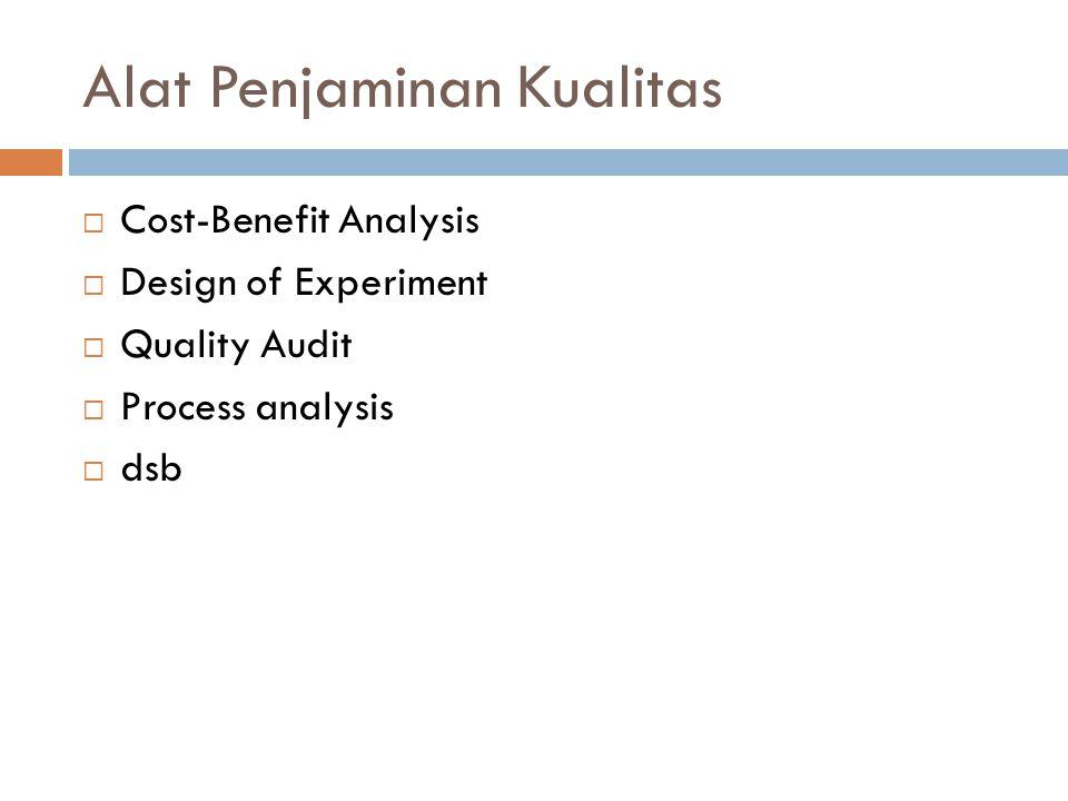 Alat Penjaminan Kualitas  Cost-Benefit Analysis  Design of Experiment  Quality Audit  Process analysis  dsb
