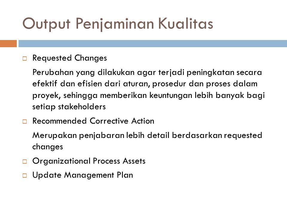 Output Penjaminan Kualitas  Requested Changes Perubahan yang dilakukan agar terjadi peningkatan secara efektif dan efisien dari aturan, prosedur dan